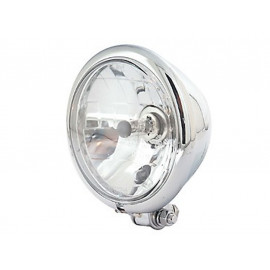 P&W Headlight Bates-Style 5 3/4 Inch H4 with Parking Light bottom Mount (chrome)