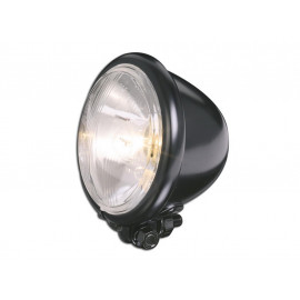 P&W Headlight Bates-Style 4 1/2 Inch with Bilux Bulb (black)