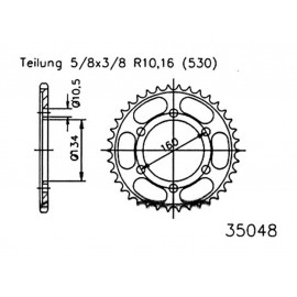 Esjot Motorcycle Sprocket 42 Teeth Steel (530) (5/8x3/8) (92-35048-42)