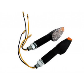 Shin Yo Peak LED Motorcycle Turn Signal Set (black) yellow Glass / long
